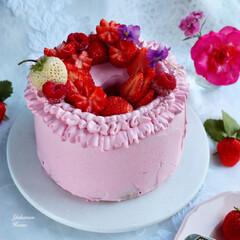 手作りケーキ/令和元年フォト投稿キャンペーン/令和の一枚/フォロー大歓迎/LIMIAファンクラブ/至福のひととき/... イチゴシフォンケーキ 今年最後のイチゴか…
