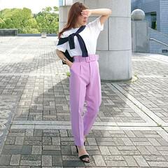 エアリズムオーバーサイズtシャツ/カラーパンツ/zaraパンツ/プチプラコーデ/ママコーデ/ママファッション/... 毎年買い足すuniqloのTシャツ👕  …