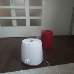 maxzen 加湿器 卓上 スチーム式 ハイブリッド おしゃれ 大容量 6.0L アロマオイル対応 上部給水 最大加湿量550ml リモコン付 デジタル表示 ミスト3段階 湿度設定可 切タイマー付 ホワイト KSH-MX601-W | maxzen(加湿器)を使ったクチコミ「maxzenのハイブリッド型の加湿器を購…」(1枚目)