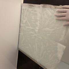 水垢/バスルーム/浴室鏡/浴室/クエン酸洗浄/クエン酸パック ケトル洗浄で残ったクエン酸でクエン酸パッ…
