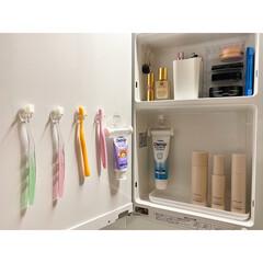 歯ブラシラック/歯ブラシスタンド/歯ブラシ収納/洗面所/洗面台/鏡裏収納 洗面台の鏡裏はセリアのフィルムフックを使…