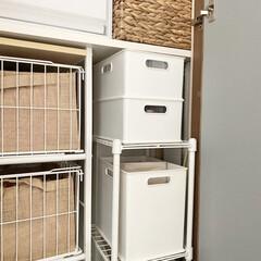 洗面所/洗面台/Nインボックス/靴下収納スペース/靴下収納場所/ニトリ/... 靴下収納  靴下は洗面所の収納にラックを…