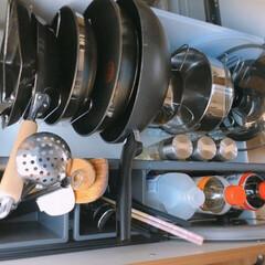 フライパン収納/鍋収納/シンク下収納 フライパン収納  フライパンや鍋などは立…