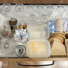 白雪ふきん 白雪友禅ふきん 雪(雪平鍋)を使ったクチコミ「カップボード2列目 2段目です。  来客…」