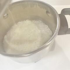 朝ごはん/ご飯/炊飯器/鍋炊飯/鍋ご飯/ティファール/... スッカリ鍋で炊くご飯にはまっています。で…