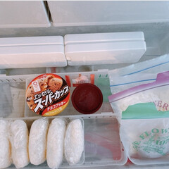 ハーゲンダッツ ミニカップストロベリー 6入(アイスクリーム、ソフトクリーム)を使ったクチコミ「冷凍庫収納  冷凍庫の上段は在庫が少なく…」