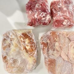 お肉収納/冷蔵庫/冷凍庫収納/冷凍庫/冷蔵庫収納/冷凍食材/... 冷凍庫収納  お肉は1週間分を購入してま…