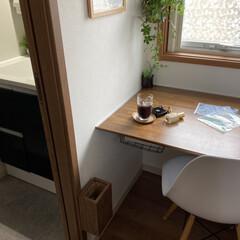 DSWシェルチェア 623 ホワイト ブラック ピンク レッド PP-623 イームズチェア DSW チャールズ&レイ・イームズ(パーソナルチェア)を使ったクチコミ「洗面台の隣にある家事カウンターは作業スペ…」