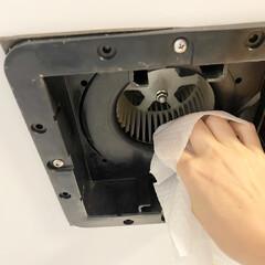 スコッティ ファイン 洗って使える ペーパータオル 61カット 1ロール(キッチンペーパータオル)を使ったクチコミ「浴室換気扇掃除  浴室換気扇を掃除しまし…」