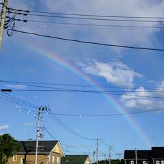 虹/帰り道/わたしのお気に入り 息子の保育園のお迎えの帰り突然の天気雨!…