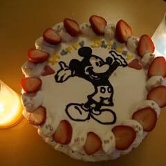誕生日ケーキ/ミッキー/5歳/子供/わたしのごはん 5歳の息子の誕生日ケーキ! 毎年恒例の手…