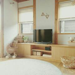 木の家/マイホーム/注文住宅/木のぬくもり/北欧インテリア/かごのある暮らし/... テレビボードは造作の 作り付け。  自分…