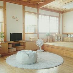 シンプルライフ/シンプルインテリア/おままごとキッチン/壁掛けサンカク/リビング/扇風機/... 暑い日が続きますね〜  エアコン&扇風機…