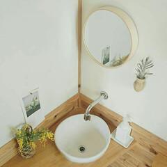 シンプル/シンプルライフ/木の家/無印/無印良品/ナチュラルインテリア/... 洗面所の手洗い場。 * *  丸い水受け…