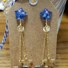 手作りアクセ 娘の好きな色と星でイヤリングを作ってみま…