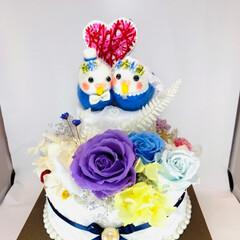 結婚祝い/紙刺繍/フラワーケーキ/ウエディングケーキ/プリザーブドフラワー/令和元年フォト投稿キャンペーン/... プリザーブドフラワーで、2段のケーキを作…