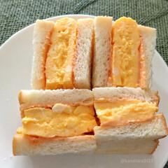 みんなにおすすめ/わたしのごはん/サンドイッチ/玉子サンド/朝食パン/朝ごパン/... 乃が美の食パンで厚焼き玉子のサンドイッチ…