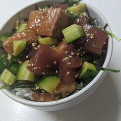簡単レシピ/丼レシピ/YouTubeチャンネル ポキ丼を作りました(*´˘`*)♡ マグ…