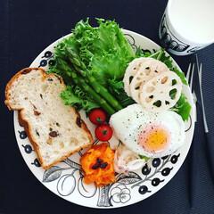 卵料理/たまご/アスパラガス/レーズン食パン/レーズン/プレート/... menu レーズン食パン アスパラ 蓮根…
