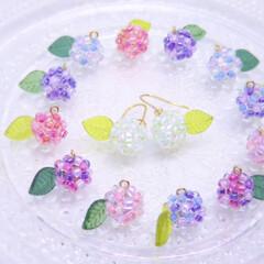 紫陽花ピアス/紫陽花/フォロー大歓迎/雑貨/ハンドメイド/おでかけ/... 作り出すと止まらない、、、  カラフルな…