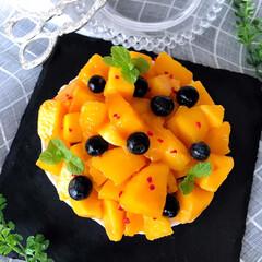 レアチーズケーキ/マンゴースイーツ/マンゴー/夏スイーツ/夏のお気に入り/手作りおやつ/... マンゴー!夏らしいカラーで大好き💕元気に…