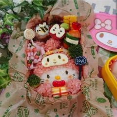 マイメロ/キティちゃん/デコ弁/キャラ弁/お弁当/至福のひととき/... 娘のお弁当𖠋  キティちゃんとマイメ…