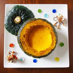 お菓子作り/手作りお菓子/まるごとかぼちゃプリン/プリン/かぼちゃプリン/かぼちゃ/... まるごとかぼちゃプリンを作りました🎃