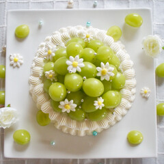 手作りお菓子/手作りケーキ/旬/シャインマスカット/おやつタイム/LIMIAファンクラブ/... シャインマスカットのケーキを作りました😊