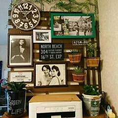 時計/フォトフレーム/グリーン/壁面/すのこ/DIY/... 写真も素敵に飾りたいですよね~❤