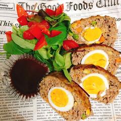 パーティー料理/肉料理/卵料理/たまご/ミートローフ/お肉/... 卵入りミートローフ! 夫の誕生日に作った…