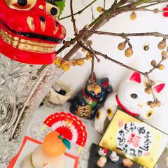 獅子舞/玄関/お正月飾り/お正月/お正月2020/セリア/... 玄関をお正月らしく飾ってみました。 獅子…