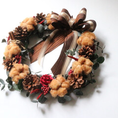 お祝い/プレゼント/ギフト/贈り物/インテリア/ナチュラル/... オータムリースを作りました‼️ ブラウン…