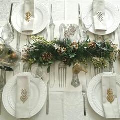 テーブルランナー/テーブルコーディネート/我が家のテーブル/キッチン雑貨/雑貨/住まい/... クリスマスのテーブルです!テーブルランナ…