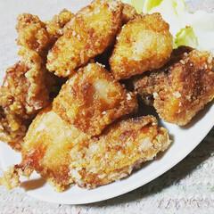 わたしのごはん/唐揚げ/夜ご飯/幸せわたしのごはん 我が家の唐揚げは、鶏むね肉と鶏もも肉の2…