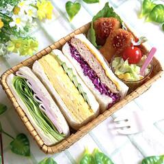 サンドイッチ/サンドイッチ弁当/竹籠弁当/お弁当/LIMIAごはんクラブ/おうちごはんクラブ/... サンドイッチ弁当 ・ハム&レタス  ・厚…