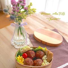 bloomeelife/花が好き/花のある生活/雨季ウキフォト投稿キャンペーン/お弁当/LIMIAごはんクラブ/... 肉巻きおにぎり弁当