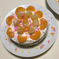 手作り/子供/お誕生日パーティー/お誕生日ケーキ/暮らし/フォロー大歓迎/... お誕生日に子供たちが協力して作ってくれた…