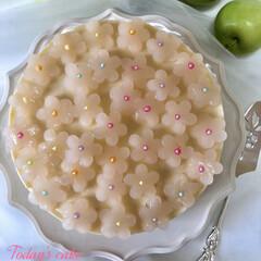 レアチーズタルト/yummy/お菓子作り/Homemade/タルト/フォロー大歓迎/... めっちゃpeach🍑な レアチーズケーキ…(1枚目)