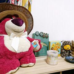 帽子/指輪/ピアス/アクセサリー/見せる収納/ぬいぐるみ/... 麦わら帽子でロッツォも夏仕様に😘
