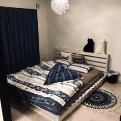 ベッドルーム/ベッド/パレットベッド/DIY/ニトリ/暮らし 自作パレットベッド 寝具クッション類は全…