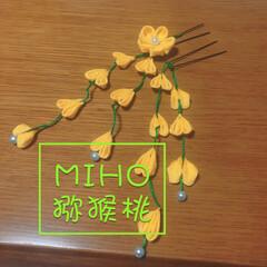 ヘアアクセサリー/簡単/和風の小物/和風/和小物/着物/... ミャンマーの花と日本のつまみ細工を合わせ…