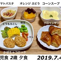 手料理/明日も頑張ろう/食べムラ/イヤイヤ期/2歳児/2歳/... 2019.7.4 夜ご飯🤗🍚❤️  こど…