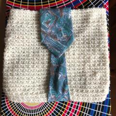 ネクタイ/アフリカ布/クラッチバッグ/カバン/100均/雑貨/... カバン or クラッチ⁉️ かぎ針編みで…