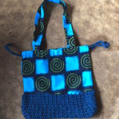 トートバック/アフリカ布/ダイソー/雑貨/ハンドメイド トートバック、巾着作ってみました。