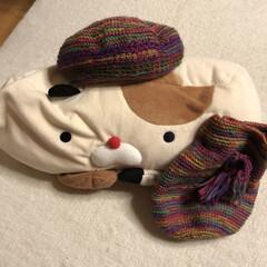 猫ちゃん枕にコーデ/巾着/引き揃え編み物/かぎ針編み/ベレー帽/毎日ハンドメイドチャレンジ 今日のハンドメイドチャレンジ❣️  ベレ…