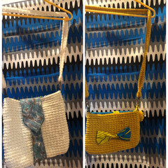 ポンポン/リボン/ネクタイ/アフリカ布/バッグ/雑貨/... 以前投稿したバッグに紐つけてみました。 …