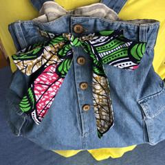 アフリカ布/リュック/デニムスカート/USED/リメイク/ハンドメイド usedデニムスカートでリュック作ってみ…
