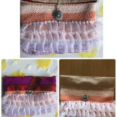 かぎ針編み/ポーチ/アフリカ布/雑貨/ハンドメイド/100均/... 友達のアフリカ布とコラボして小さなポーチ…