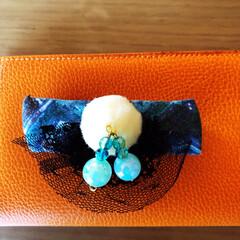 バレッタ/ビーズ/ポンポン/100均/雑貨/ハンドメイド ネクタイを利用してバレッタ作ってみました…
