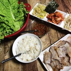 サムギョプサル/韓国料理/夜ごはん/わたしのごはん 家族みんな大好き❤ サムギョプサル❤️❤️
